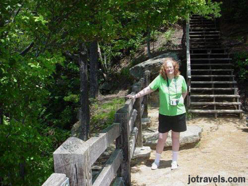 Me, after climbing down the stairs to one of the overlooks at Breaks Interstate Park.