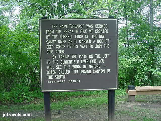 sign at Breaks Interstate Park.