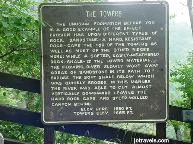 The Towers sign at Breaks Interstate Park.