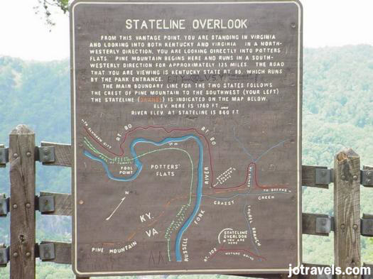 Stateline Overlook sign at Breaks Interstate Park.