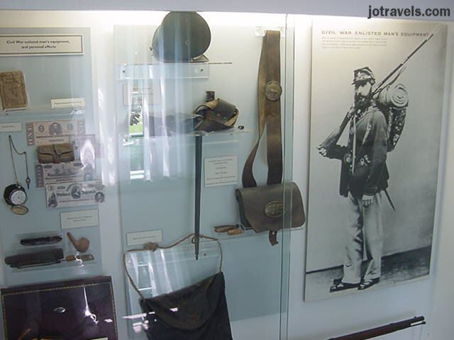 Display case showing President Ulysses S. Grant memorabilia during the Civil War