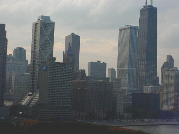 View from the ferris wheel on Navy Pier in Chicago Illinois on Lake Michigan
