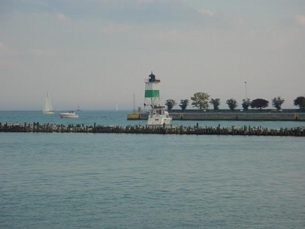View from Navy Pier in Chicago Illinois at the river and Lake Michigan