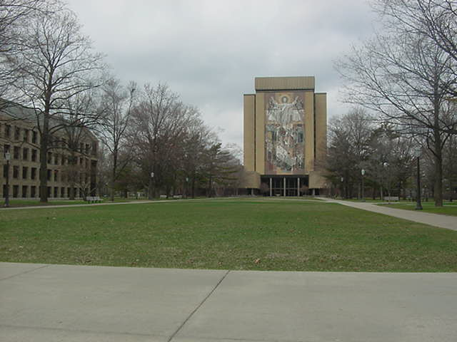 mural on the Hesburgh Library building at Notre Dame University South Bend Indiana