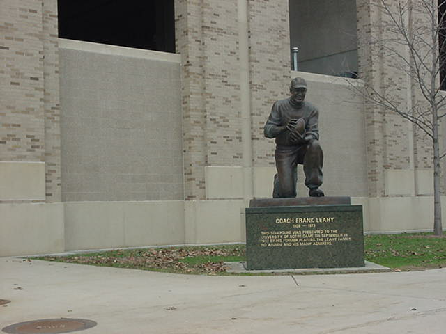 statue of Frank Leahy at Notre Dame University South Bend Indiana