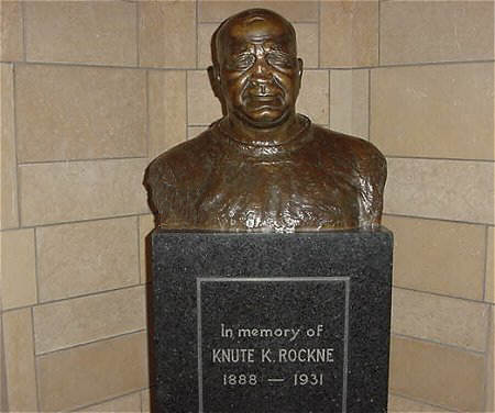 bust of Notre Dame Coach Knute Rockne