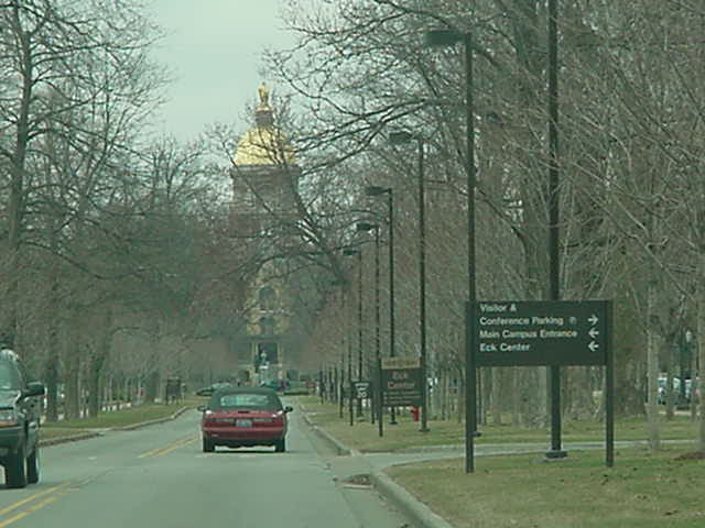 The golden dome on the main building of Notre Dame University South Bend Indiana